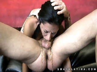 Latina hottie choked in...