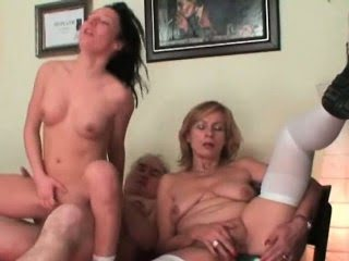 Granny enjoys hot threesome...