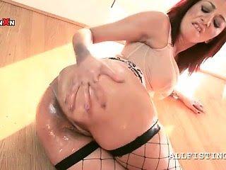 Slut in fishnets massaging...